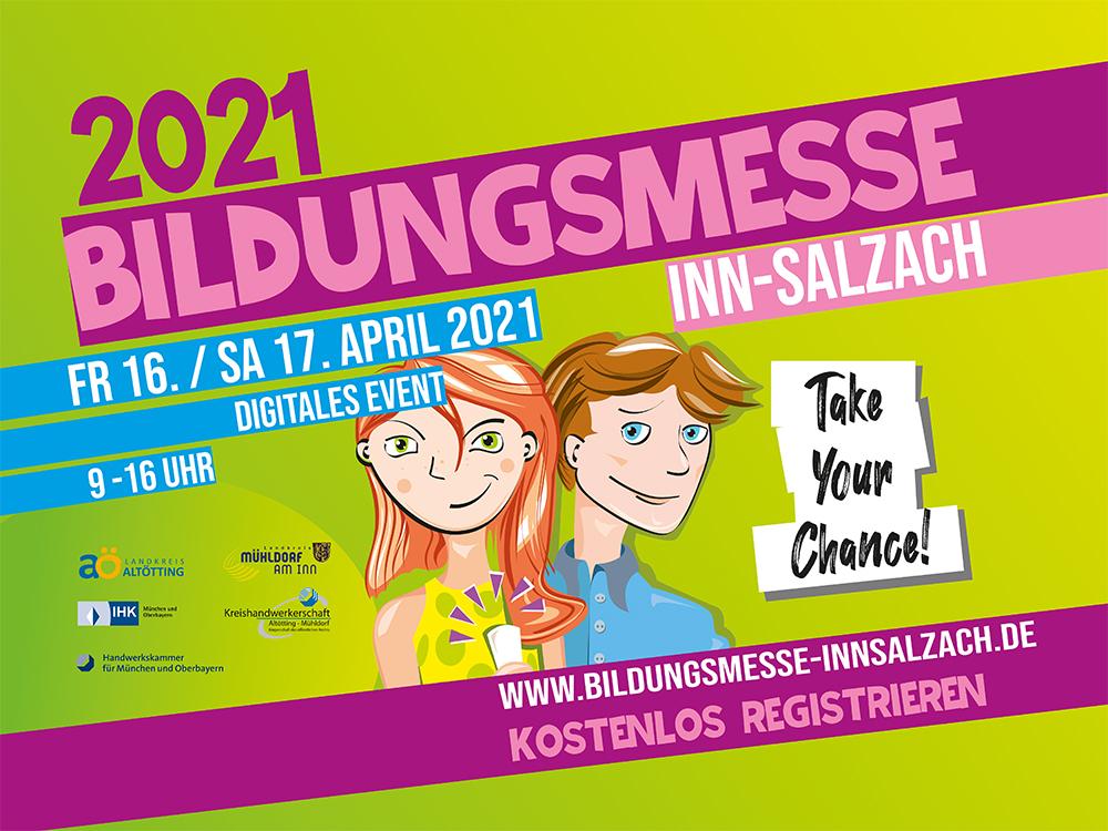Coverbild mit zwei in bunten Farben illustrierten Jugendlichen (Mädchen und Junge) für die Bildungsmesse Inn-Salzach 2021 im Landkreis Altötting/ Deutschland (Fotocredit: Bildunsmesse Inn-Salzach)