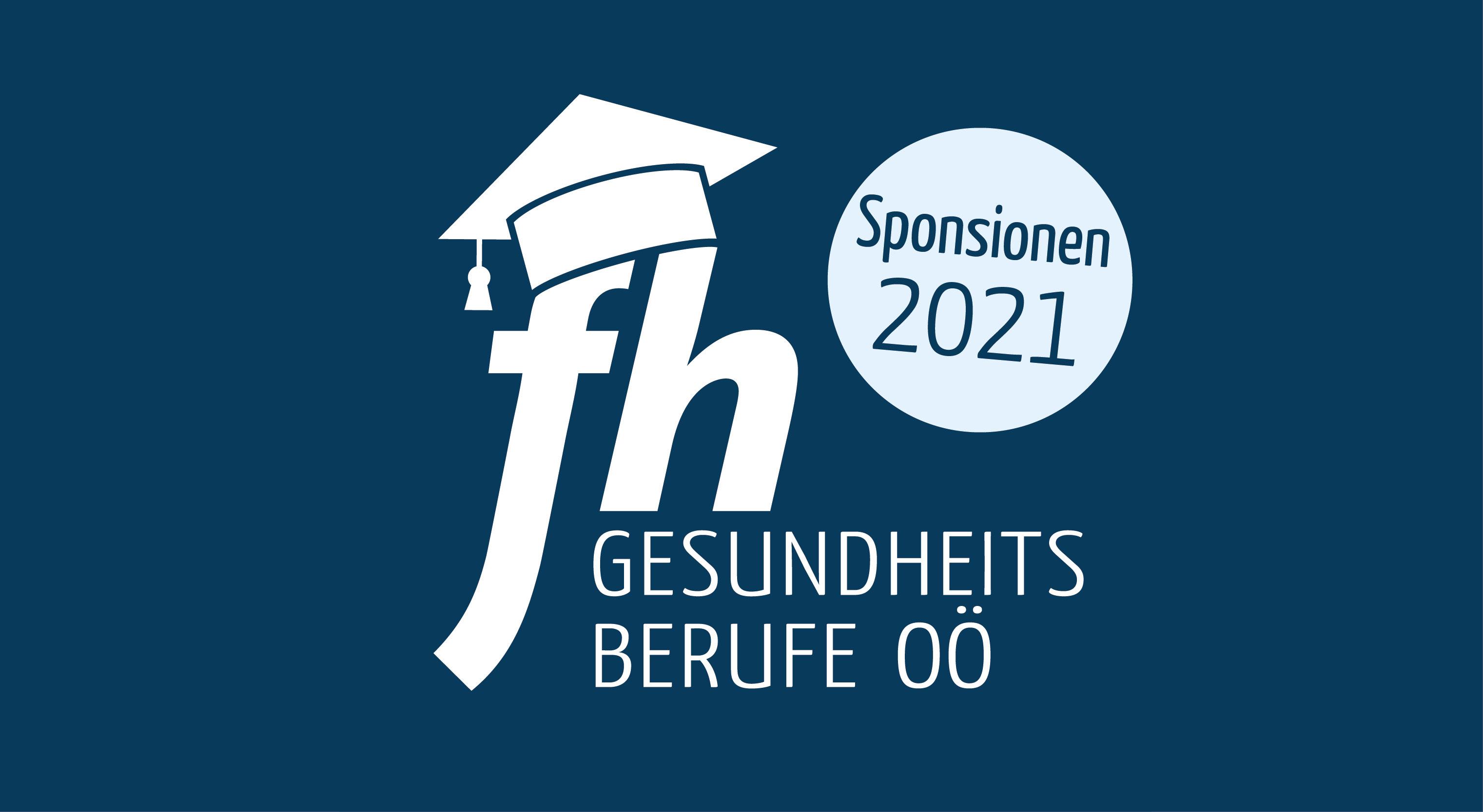 Titelfoto zu den Sponsionen 2021 mit dem Sponsionslogo der FH Gesundheitsberufe OÖ