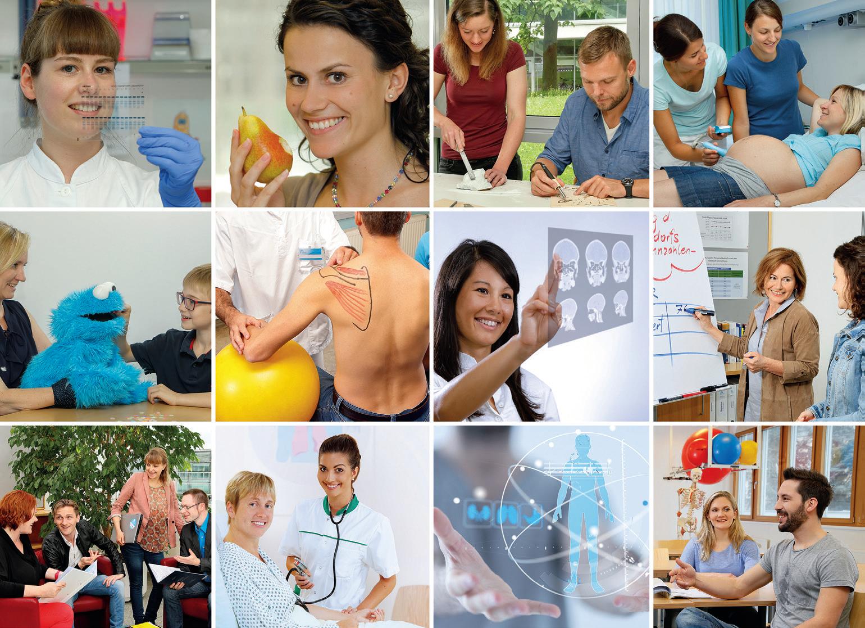 Collage aus Bildern zu den Studienprogrammen der FH Gesundheitsberufe OÖ (Fotocredit: FH Gesundheitsberufe OÖ)